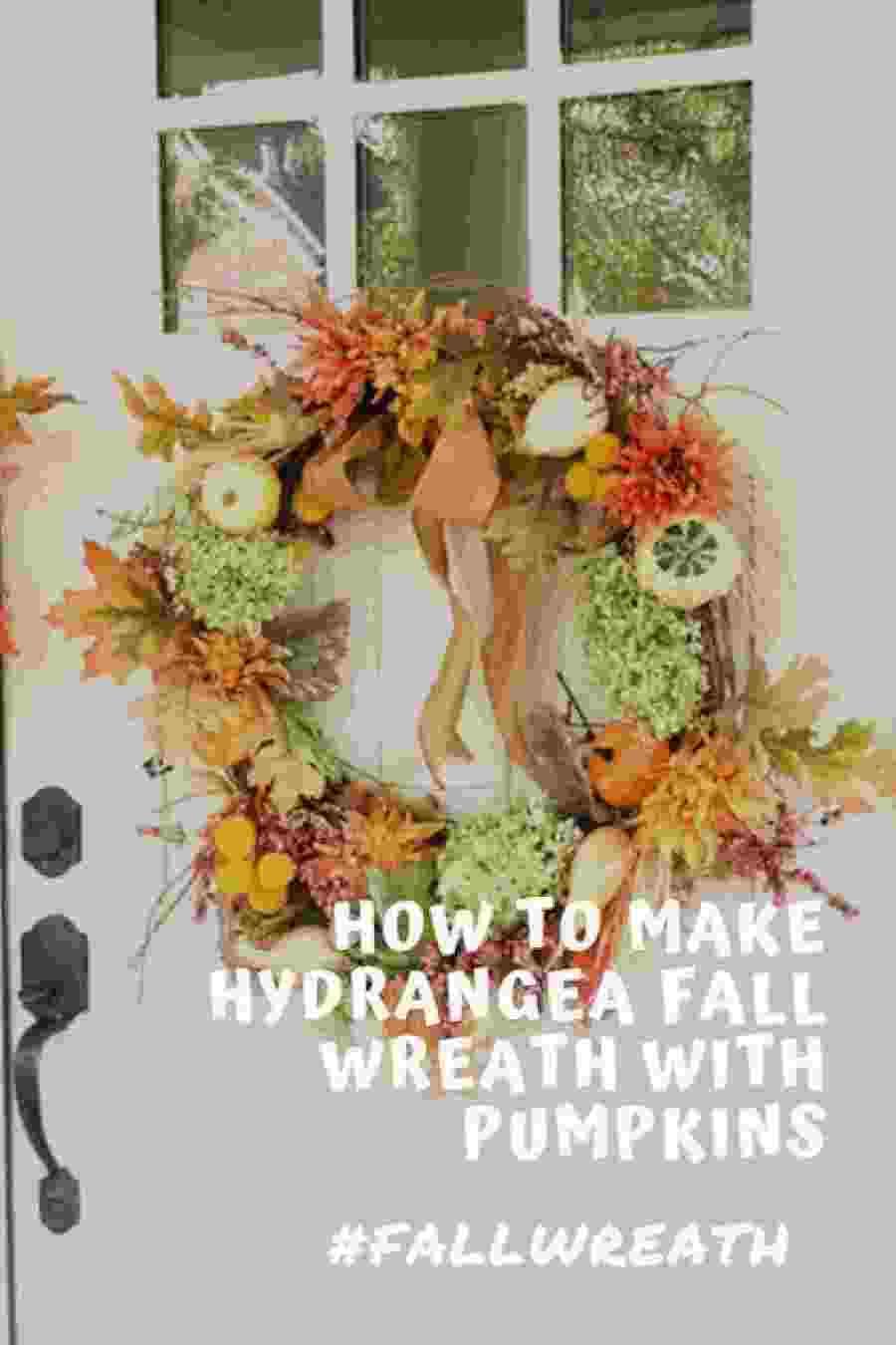 Hydrangea Fall Wreath with Pumpkins