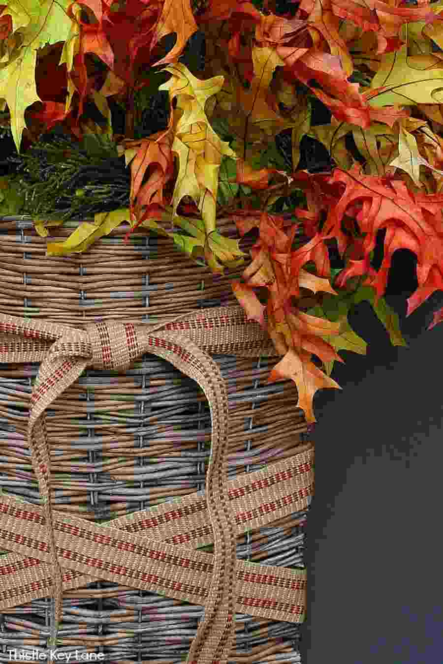 Fall door basket with leaves - Autumn porch decor