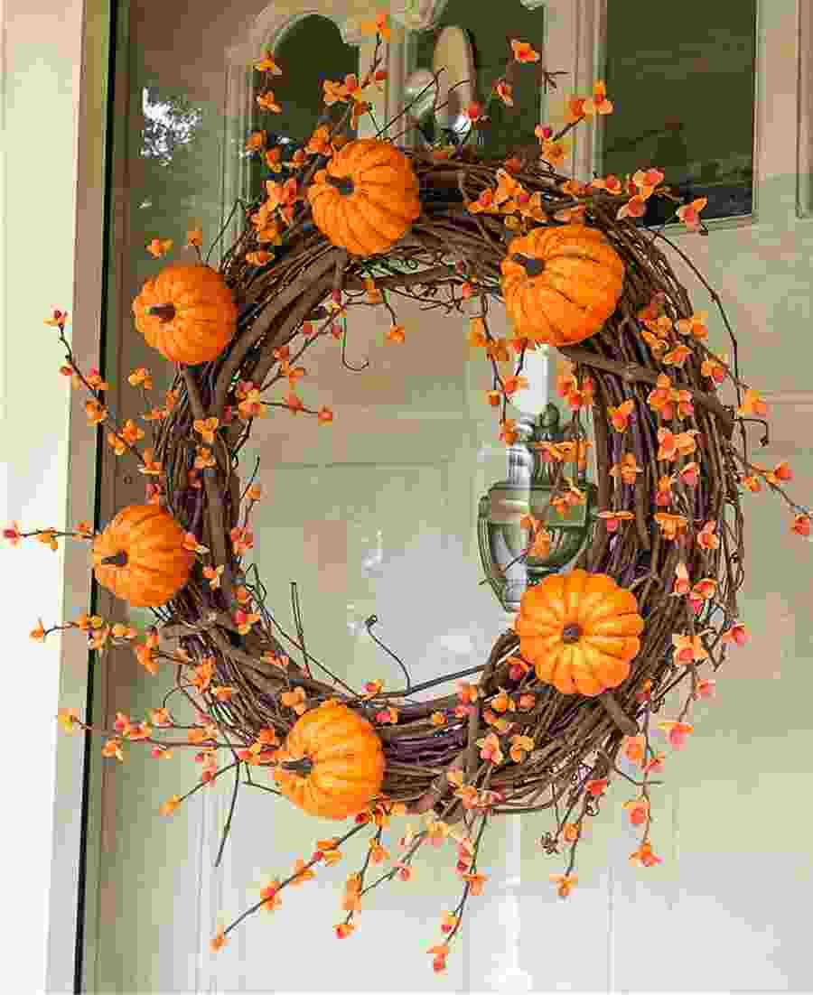 Fall wreath with mini pumpkins